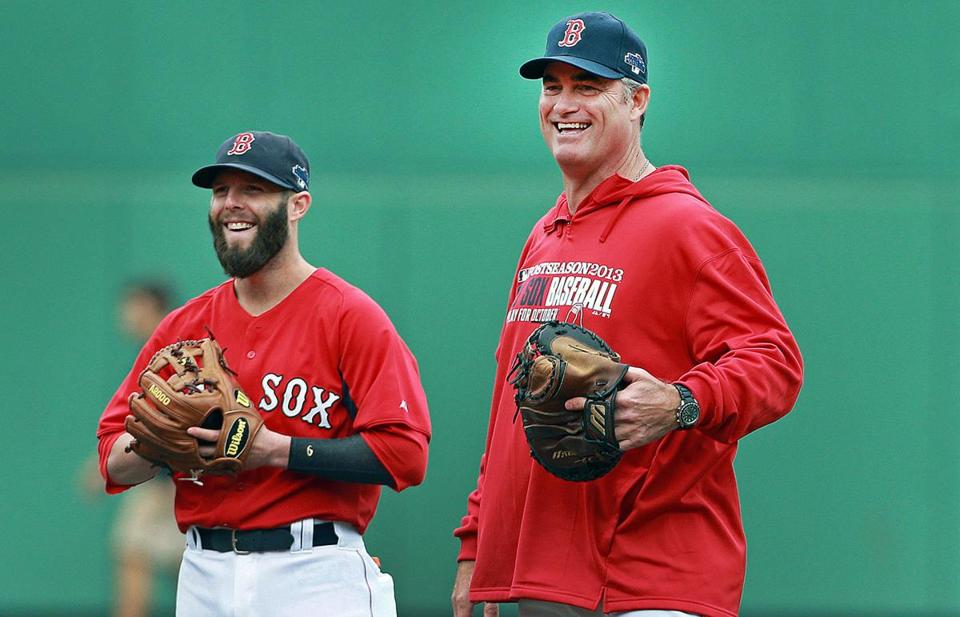 John Farrell shared a laugh with Dustin Pedroia during a workout at Fenway Park on Thursday.